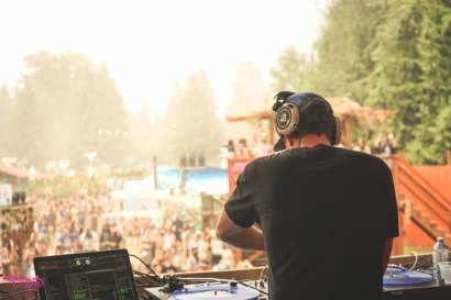 DJ Soup plays Pagoda amidst the smokey air. Photo: Roco Newson